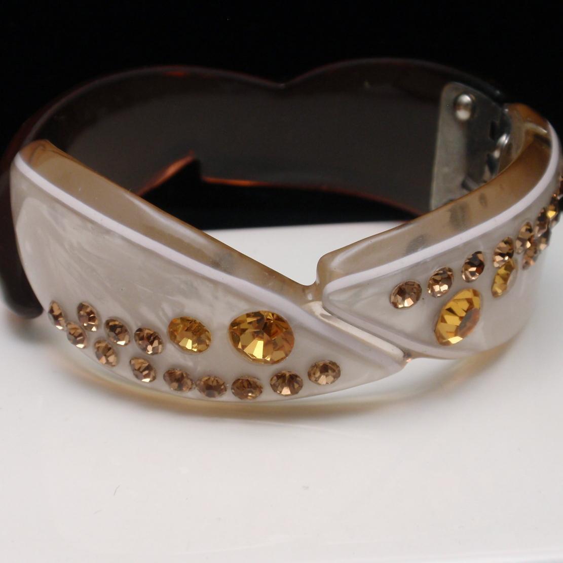 Acrylic Clamper Bracelet Vintage 2-Tone with Rhinestones