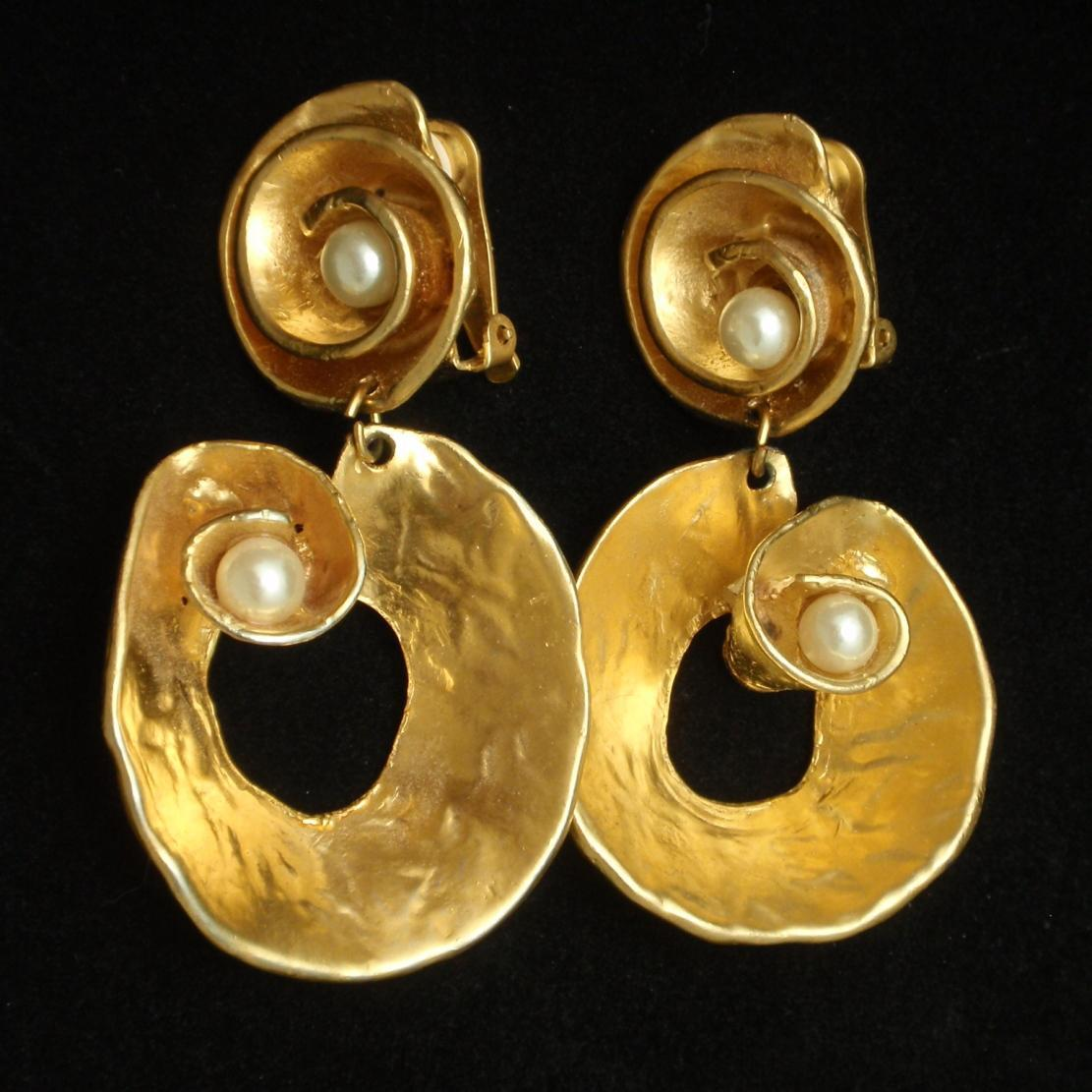 Large Gold Tone Metal Drop Earrings with Imitation Pearls Vintage