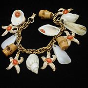 Kitsch Souvenir Seashells Charm Bracelet Vintage 1950s