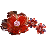 Flower Brooch Pin & Earrings Large Size Vintage Cellulose Acetate & Rhinestones