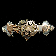 Victorian Silver Bar Pin Hearts Bird Gold Filled Accents
