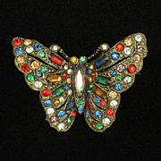 Butterfly Brooch Pin Vintage Multi-Colored Rhinestones