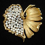 Leaf Brooch Pin Vintage BKS Rhinestones