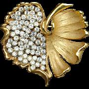 Leaf Brooch Pin Vintage BSK Rhinestones