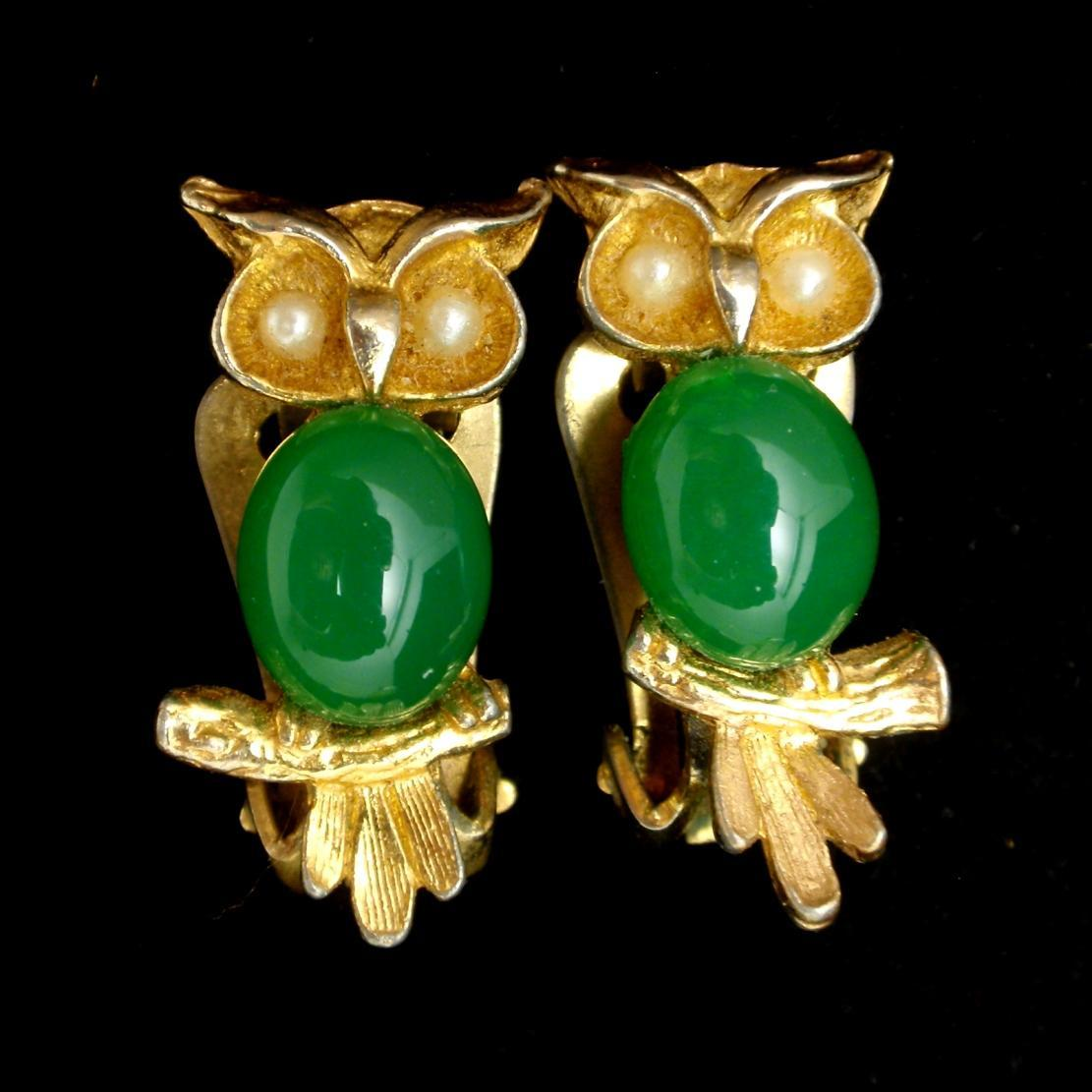 Owl Earrings Vintage Figural Earrings by Hobe