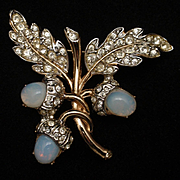 Tree Branch with Acorns Pin Imitation Moonstones and Rhinestones