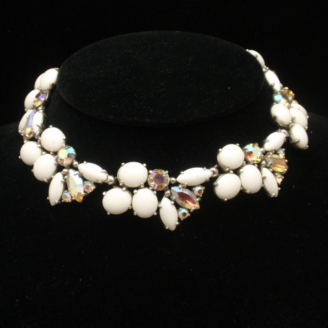 Milk White and Aurora Borealis AB Rhinestones Necklace Vintage
