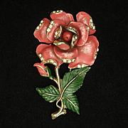 Rose Flower Brooch Pin Enamel Rhinestones Vintage