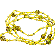 """52"""" Necklace Glass Beads Yellow Green Citrus Colors Vintage"""