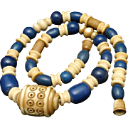 Two-Color Wooden and Galalith Beads Necklace Vintage