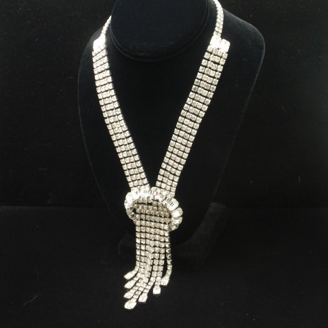 Elegant Waterfall Necklace Rhodium Clear Rhinestones