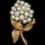 Imitation Pearls Flower Brooch Pin Vintage