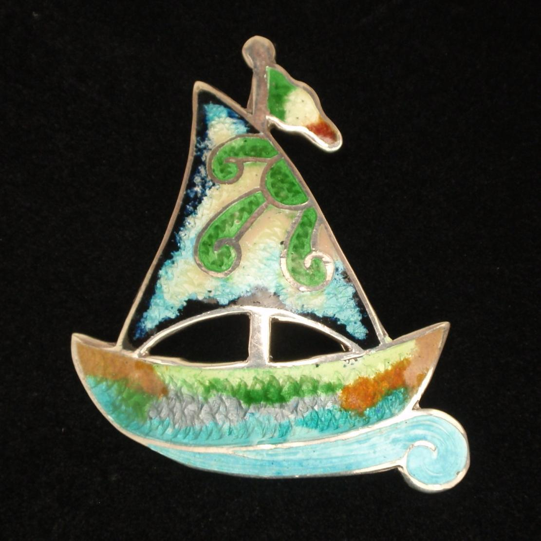 Sailboat Brooch Pin Sterling Silver Enamel Mexico