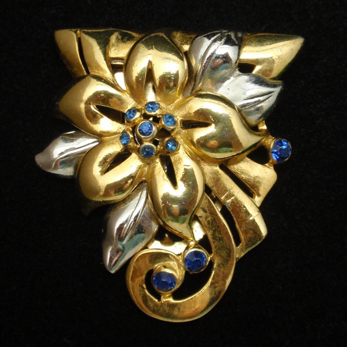 Floral 2-Color Dress Clip Pin Vintage