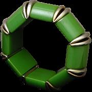 Green Bakelite Flex Bracelet with Chrome Accents