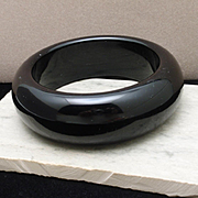 "Thick 1"" Wide Black Bangle Bracelet"