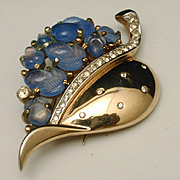Trifari Blue Fruit Salad Leaf Fur Clip 1948