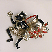 Cannibal and Cooking Pot Trembler Pin Unusual Vintage Figural Brooch
