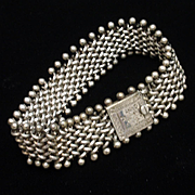 "Silver Mesh Bracelet with Engraved Clasp 8"" Long"