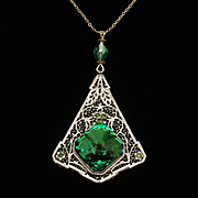 Filgree Pendant Necklace with Foil-Backed Large Stone