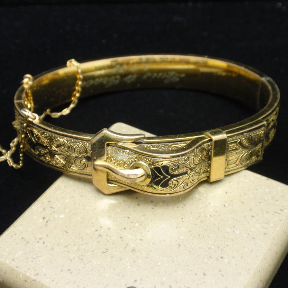 Taille d'Epargne Hinged Buckle Bangle Bracelet with Personal Engraving on Inside