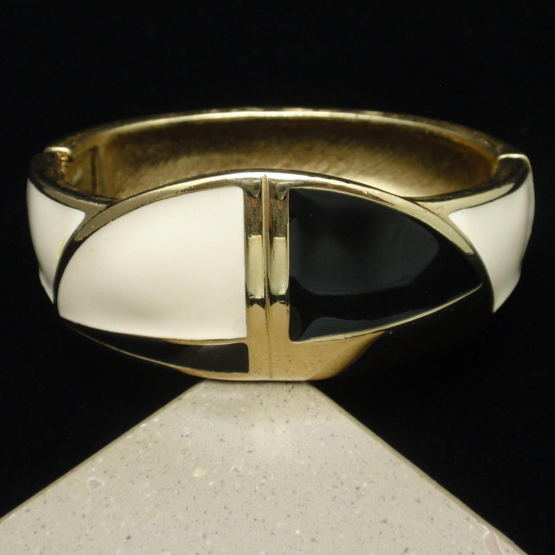 Trifari 2-Color Enamel Clamper Bracelet