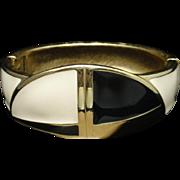 Trifari 2-Color Enamel Clamper Bracelet