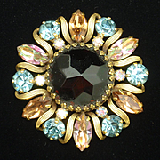 Weiss Brooch Pin with Multi-Colored Rhinestones Vintage