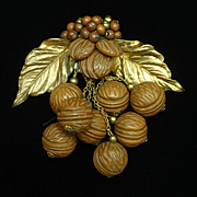 Miriam Haskell Early Dress Clip Dangling Wooden Nuts & Leaves
