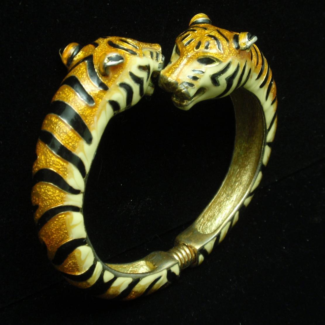 Tigers Clamper Bracelet Enamel KJL Kenneth Jay Lane