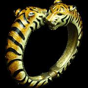 Tigers Clamper Bracelet Enamel KJL Kenneth Jay Lane