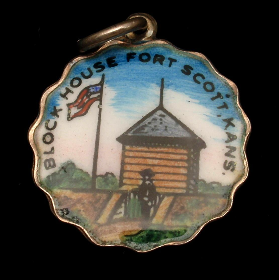 Block House Fort Scott Kansas Silver & Enamel Charm Travel Souvenir