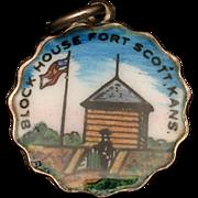Block House Fort Scott Kansas Silver & Enamel Charm Travel Souvenir