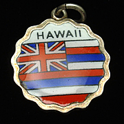 Hawaii State Flag Silver & Enamel Charm Travel Souvenir