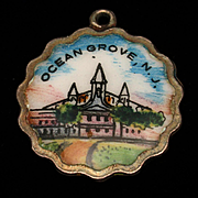 Ocean Grove New Jersey Silver & Enamel Charm Travel Souvenir