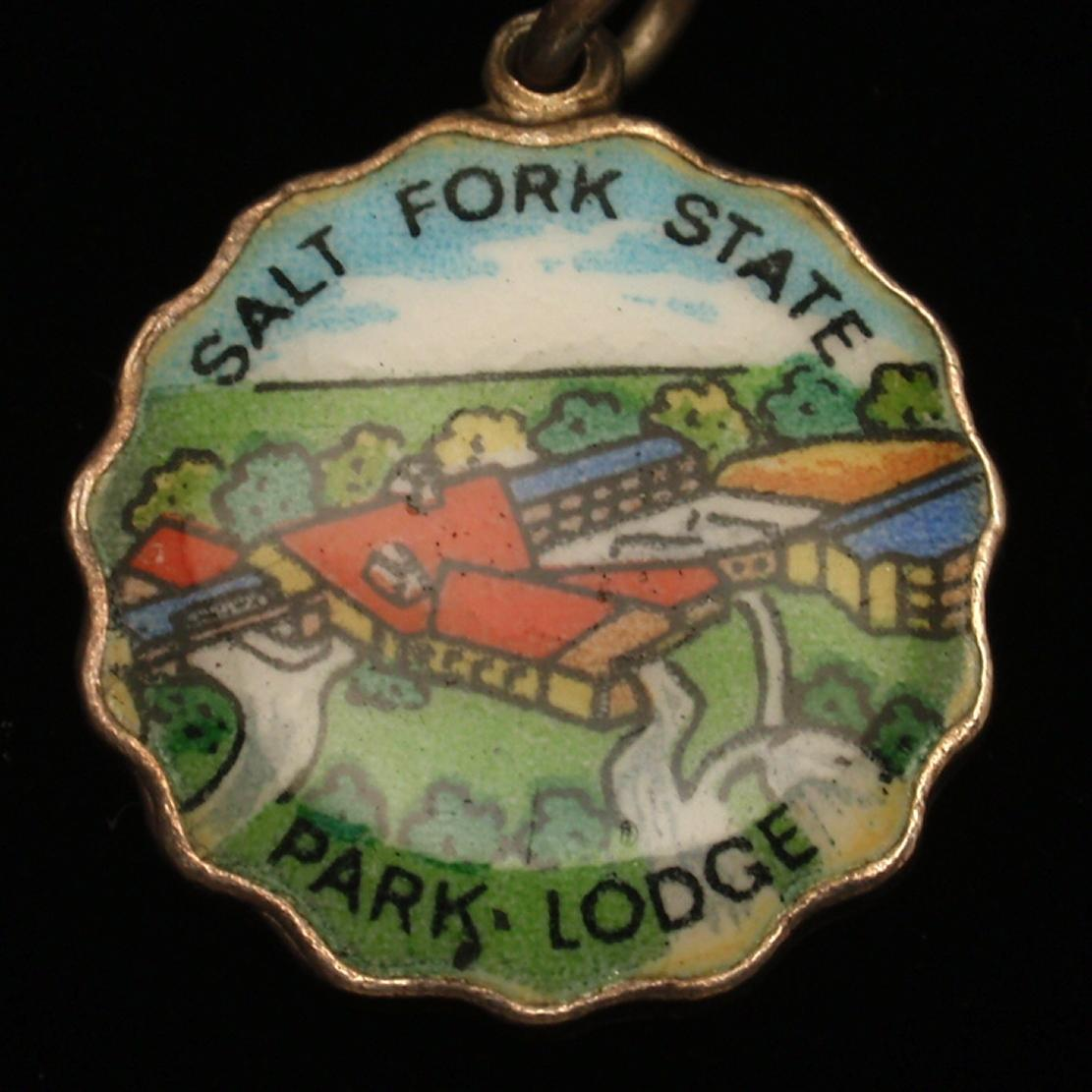 Salt Fork State Park Lodge Ohio Silver & Enamel Charm Travel Souvenir