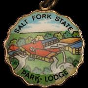 Salt Fork State Park Lodge Ohio Silver & Enamel Charm Travel Souvenir