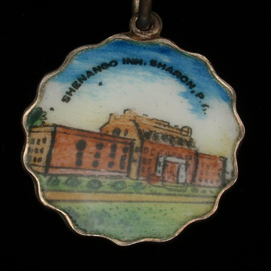 Shenango Inn Sharon Pennsylvania Silver & Enamel Charm Travel Souvenir