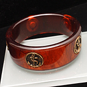 Tortoiseshell Bakelite Bangle Bracelet with Anchors