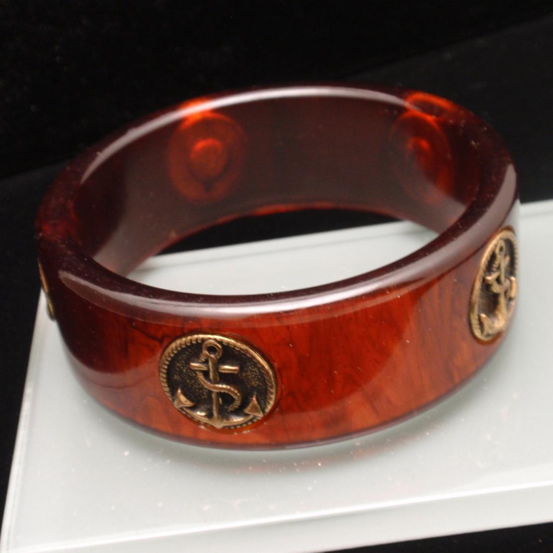 Tortoiseshell Bakelite Bangle Bracelet with Anchors