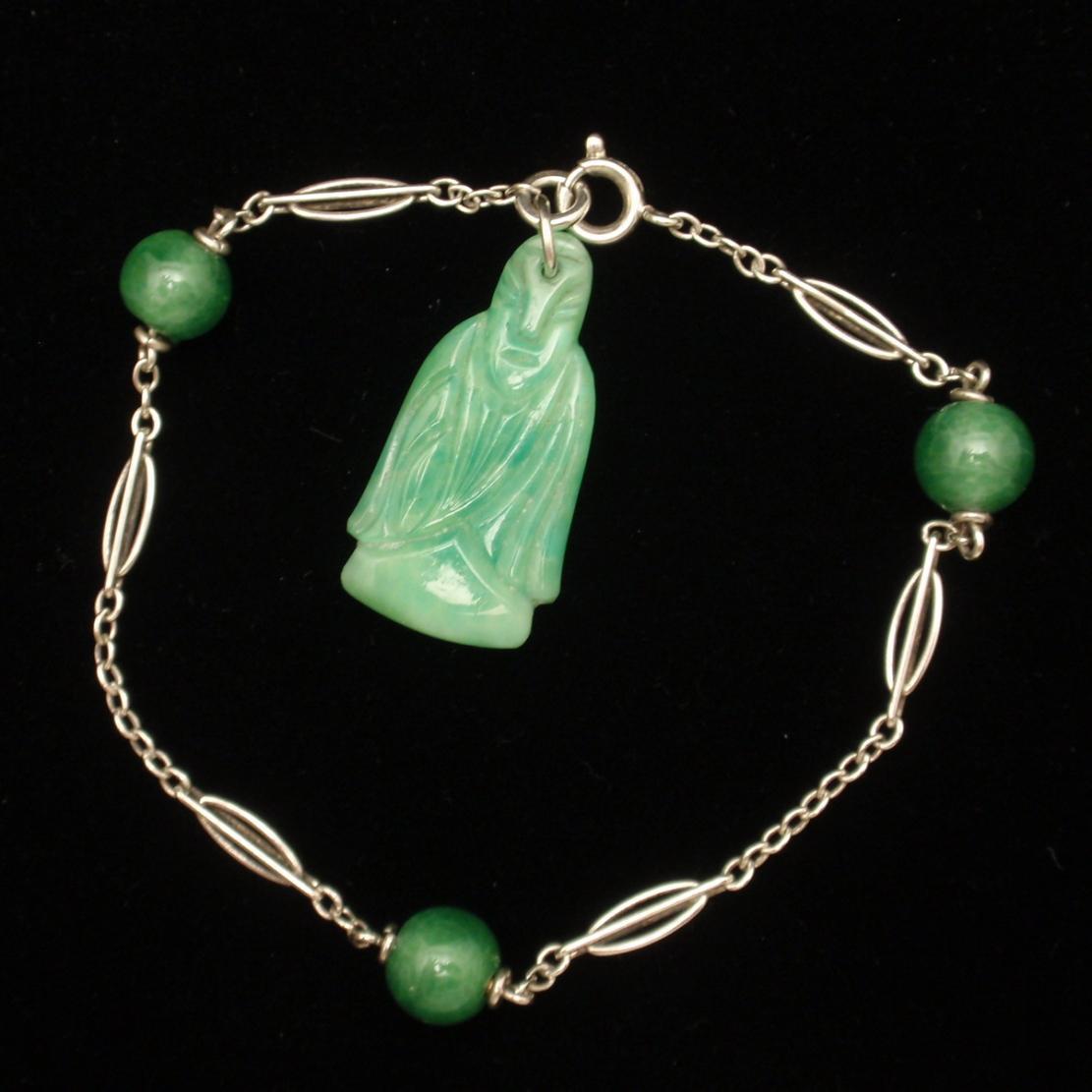 Jade Green Glass Buddha Charm Bracelet Vintage