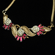 Trifari Choker Necklace with Pink & Clear Stones Vintage
