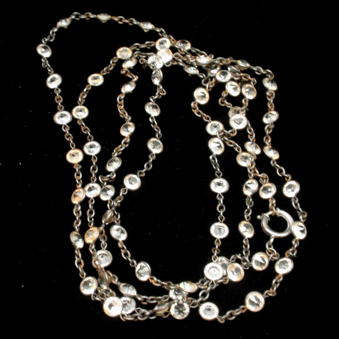 "50"" Necklace with 3/16"" Crystals Vintage"