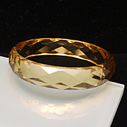 "Yellow Glass Bangle Bracelet 8"" Translucent"