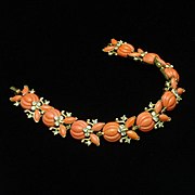 Trifari Bracelet Melon Cut Coral Glass and Rhinestones Vintage