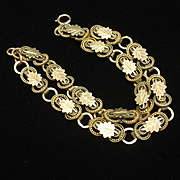 Victorian Gold Filled Bracelet Double Row Leaf Motif