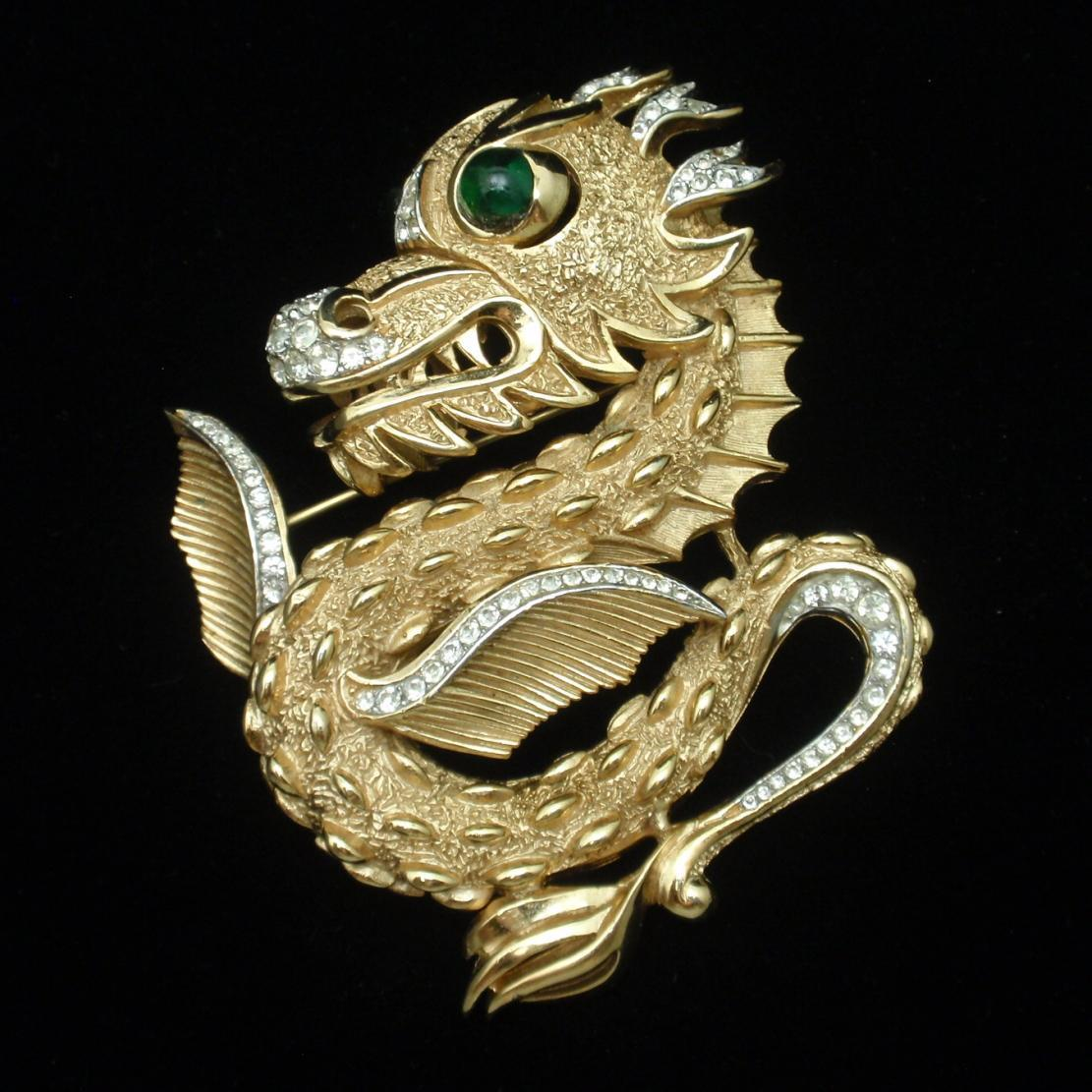 Dragon Brooch Pin Andre Boeuf for Trifari Vintage