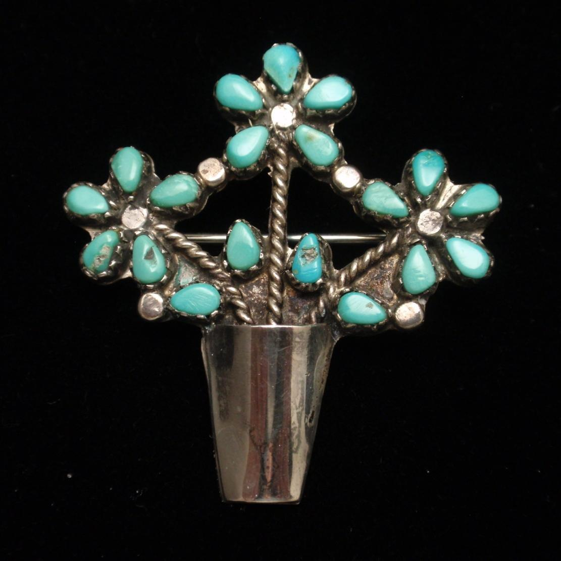 Vase of Flowers Brooch Pin Sterling Silver Turquoise American Southwest