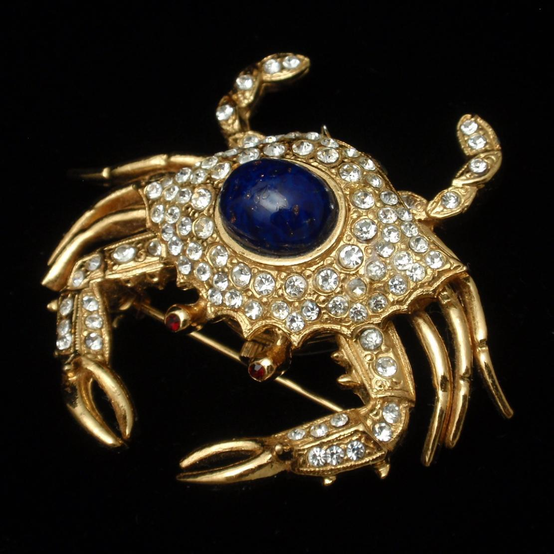 Crab Brooch Pin Opens to Watch Rhinestones KJL Kenneth Jay Lane