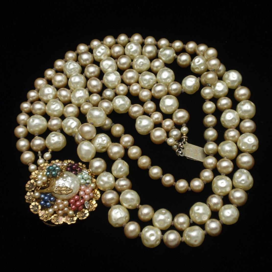 Miriam Haskell Imitation Pearl Necklace with Ornate Clasp